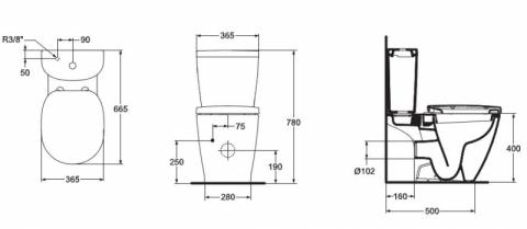 vas wc cu montaj pe pardoseala ideal standard connect cu rezervor arc si capac wc vase wc. Black Bedroom Furniture Sets. Home Design Ideas