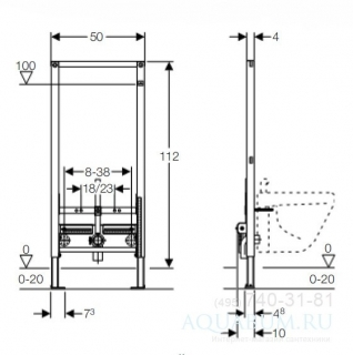Cadru pentru bideu Geberit Duofix inaltime 112 cm