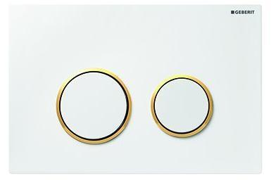 Clapeta actionare Dual-Flush,Geberit Sigma 20,pentru rezervor incastrat,alb/auriu de la Geberit