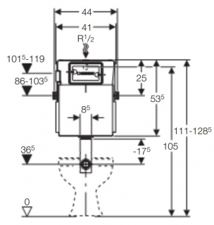 Rezervor incastrat pentru WC pe pardoseala Geberit Delta UP100, 12 cm grosime