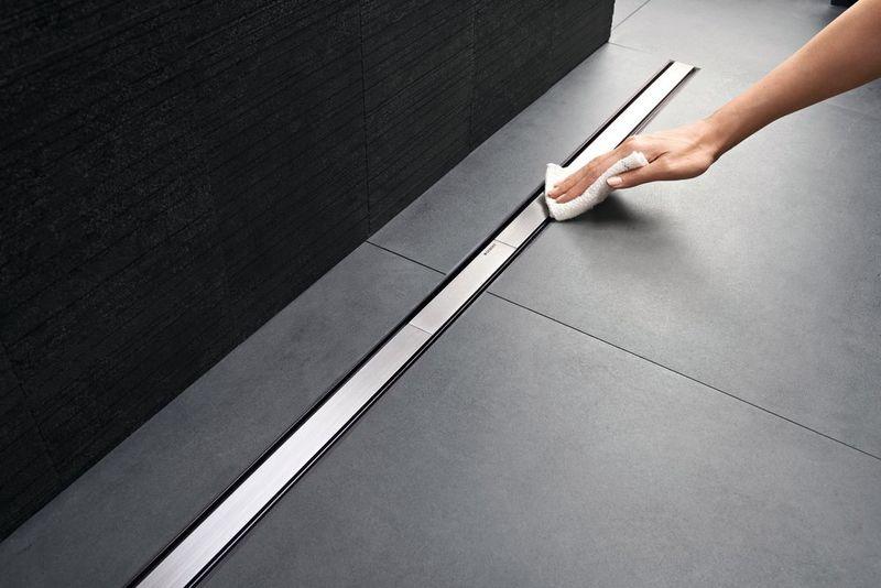 Grila rigola 30-90 cm, Geberit CleanLine20 inox mat/contur negru