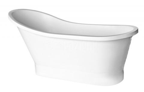 Cada de mijloc cu sifon click-clack Besco Gloria 160x68 cm culoare alb