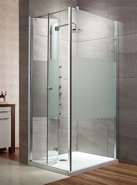 Cabina de dus cu usa plianta si perete fix, Radaway Eos KDJ-B, sticla transparenta, 80x100 cm
