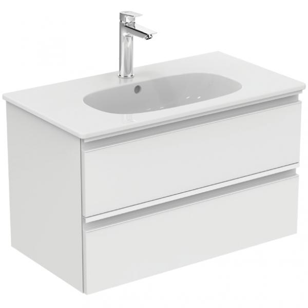 Mobilier baza Ideal Standard Tesi 80cm, alb lucios cu doua sertare si lavoar