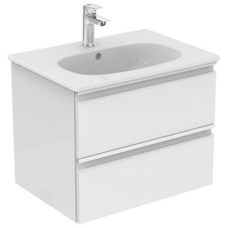 Set PROMO mobilier baza Ideal Standard Tesi 60cm, alb lucios cu doua sertare si lavoar