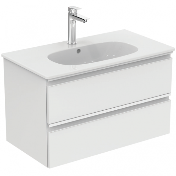 Mobilier baza Ideal Standard Tesi 80 x 49 x 44 cm cu doua sertare alb lucios