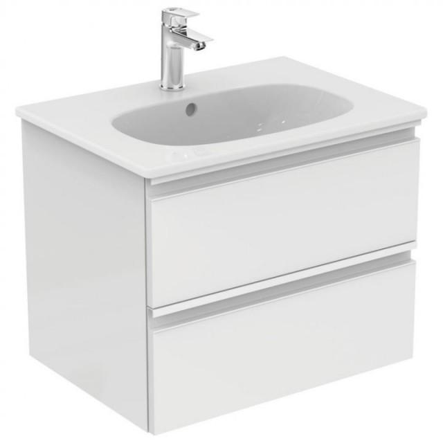 Mobilier baza Ideal Standard Tesi 60 x 49 x 44 cm, cu doua sertare, alb lucios