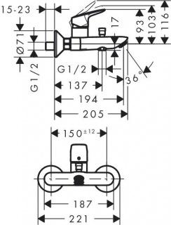 Set baterii 3in1 Hansgrohe Logis baterie lavoar, cada si set de dus Crometta