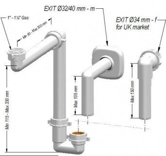 Sifon lavoar Ideal Standard pentru spatii inguste