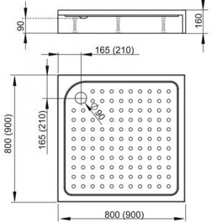 Set PROMO cabina, cadita si sifon Radaway Premium C 90 x 90 cm