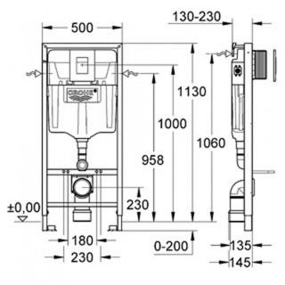 Set sistem instalare Grohe Rapid SL cu rezervor, cadru, set fixare si clapeta crom