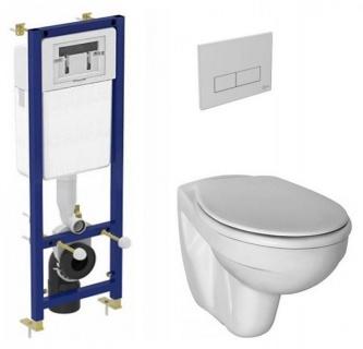 Set vas WC suspendat Ideal Standard Simplicity cu capac, rezervor incastrat si clapeta crom de la Ideal Standard