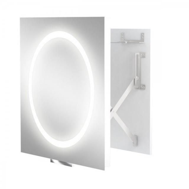 Oglinda extensibila ergonomica Miior cu led 60 x 60 x 7-37 cm
