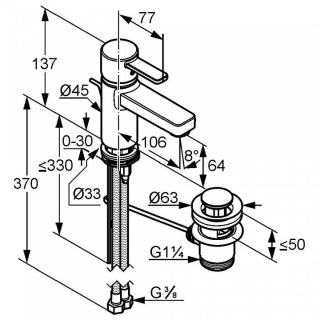 Baterie lavoar Kludi Zenta, ventil pop-up, crom-alb