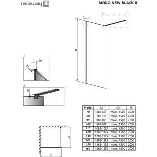 Cabina de dus Walk-in Radaway Modo New Black II 80 cm, profil negru