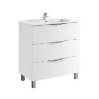 Set PROMO mobilier Gala Agata 79.7 x 45.3 cm alb lucios cu picioare si lavoar Emma imagine