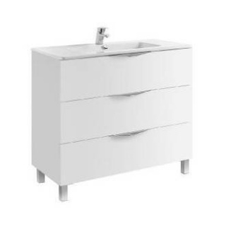 Set PROMO mobilier Gala Agata 99.7 x 45.3 cm alb lucios cu picioare si lavoar Emma
