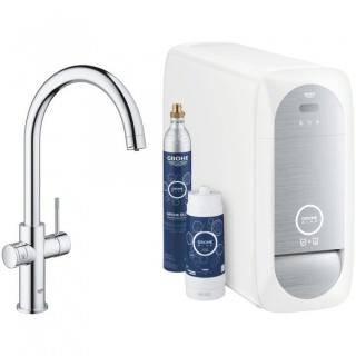 Baterie de bucatarie Grohe Blue Home crom, cu sistem de filtrare, racire si acidulare a apei