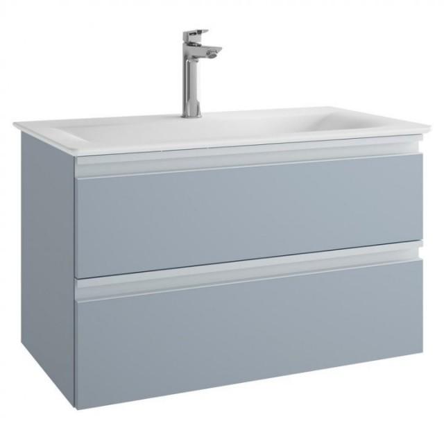 Mobilier baza Ideal Standard Tesi 80 x 49 x 44 cm cu doua sertare albastru deschis