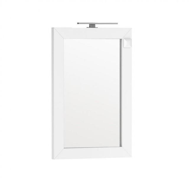 Oglinda Oristo Wave 60 x 90 cm cu iluminare si priza electrica, alb lucios