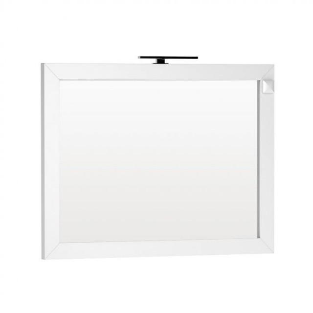 Oglinda Oristo Wave 120 x 90 cm cu iluminare si priza electrica, alb lucios