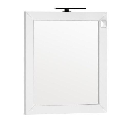 Oglinda Oristo Wave 80 x 90 cm cu iluminare si priza electrica, alb lucios
