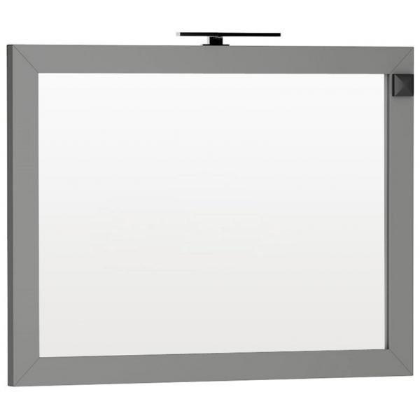 Oglinda Oristo Wave 120 x 90 cm cu iluminare si priza electrica, gri