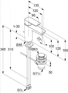 Baterie lavoar Kludi Pure Style 100 cu ventil metalic