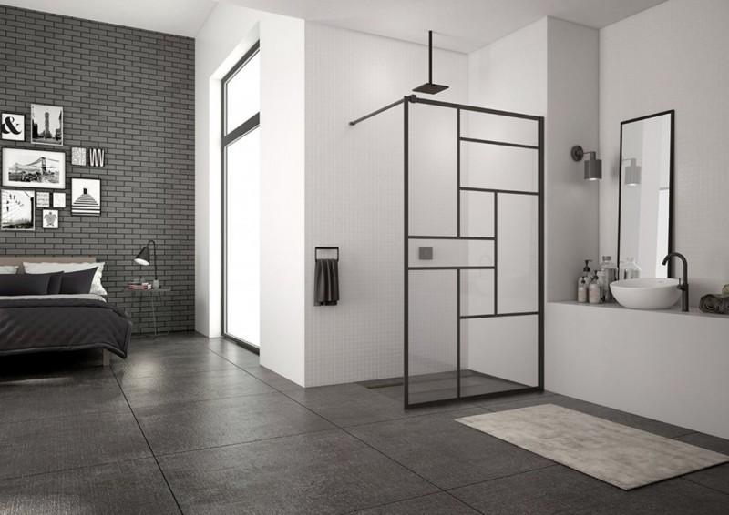 PROMO Cabina dus Walk-in SanSwiss Easy Loft 73 Industries 80 x H200 cm profil negru mat