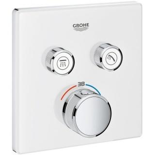 Baterie termostatata Grohe Grohterm Smartcontrol cu 2 functii, patrata, culoare alb