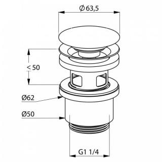 Ventil de scurgere Kludi cu push-open blocabil pentru lavoar G1 1/4