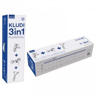 Set PROMO 3 in 1 Kludi Pure&Easy baterie de lavoar, baterie de cada si set de dus