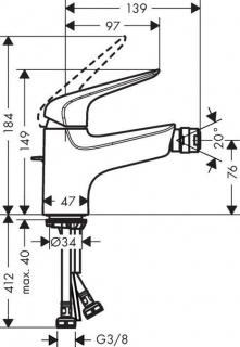 Baterie bideu Hansgrohe Novus 70 cu ventil pop-up