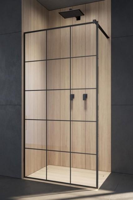 Cabina de dus Walk-In Radaway Modo New Black II Factory 155 x H200 cm profil negru mat