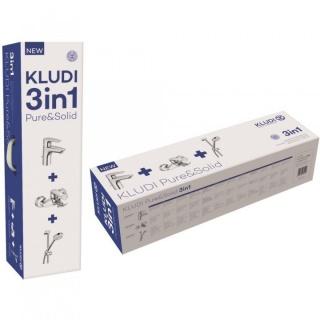 Set PROMO 3 in 1 Kludi Pure&Solid baterie de lavoar, baterie de cada si set de dus