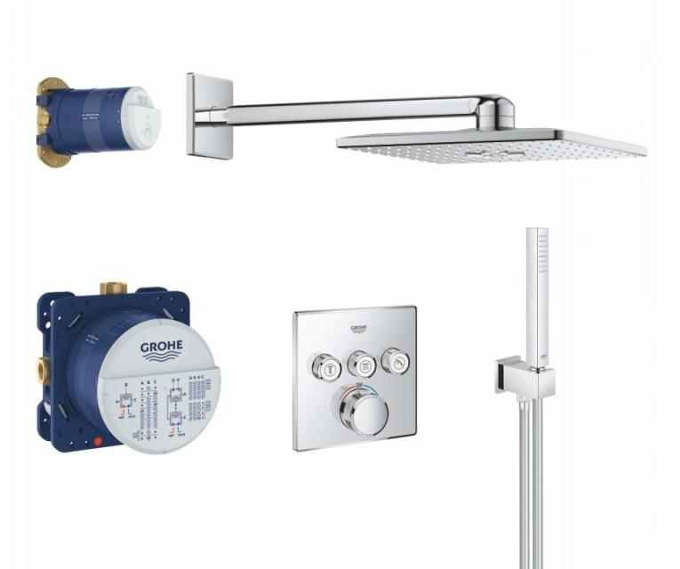 Sistem de dus Grohe Grohtherm SmartControl cu baterie termostatata, patrata