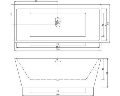 Cada Sanotechnik Style freestanding 170 x 75 x H59,2 cm, acrilica