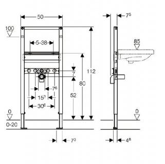 Cadru pentru fixare lavoar, Geberit Duofix, inaltime 112 cm