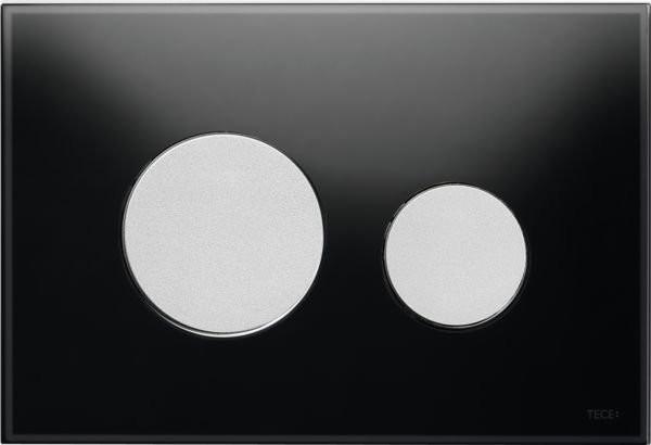 Clapeta dubla actionare Tece Loop sticla neagra - crom mat