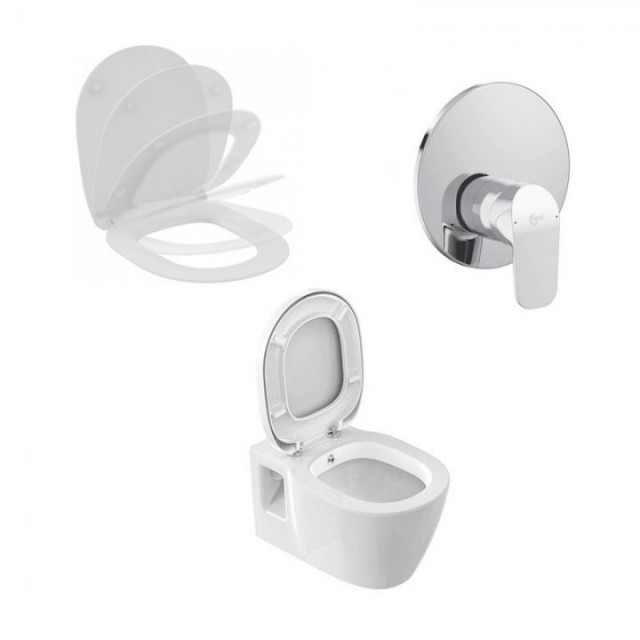 Set PROMO vas wc cu functie de bideu, capac soft-close si baterie Ideal Standard