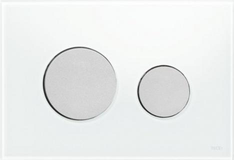 Clapeta dubla actionare Tece Loop sticla alba - crom mat