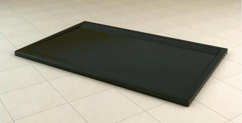 Cadita dus SanSwiss ILA WIA, 80 x 120 cm slim din marmura compozita, negru granit