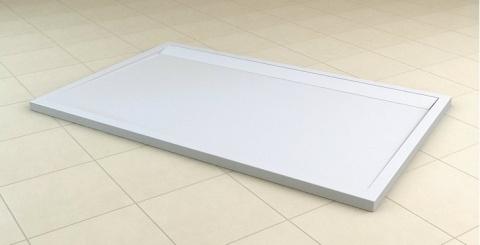 Cadita dus SanSwiss ILA WIA, 90 x 160 cm slim din marmura compozita, alb
