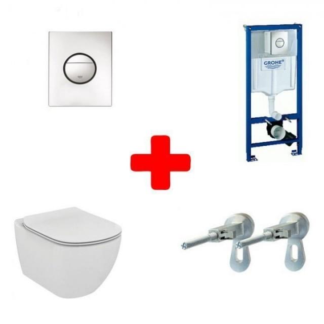 PROMO Vas WC suspendat Ideal Standard Tesi Aqublade, capac si rezervor Grohe Rapid