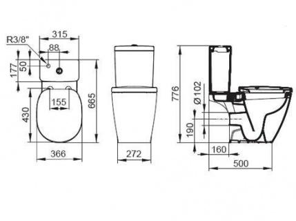 Rezervor WC Ideal Standard Connect CUBE alimentare inferioara 3/6L