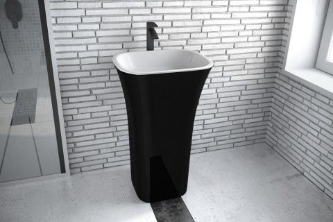 Lavoar Besco Assos Black & White 40x50x85cm compozit mineral