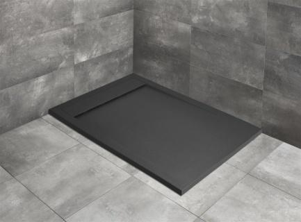 Cadita dus dreptunghiulara Radaway Teos F 150 x 80 x H4 cm, negru