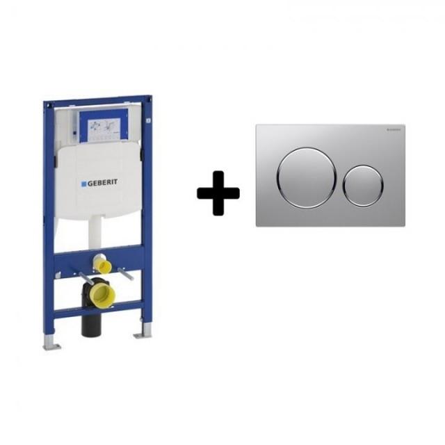 Set PROMO rezervor wc incastrat cu cadru Geberit Sigma si clapeta crom-lucios