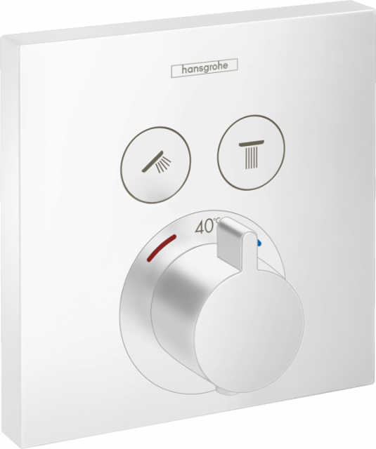Baterie dus Hansgrohe ShowerSelect termostatata cu 2 functii, alb mat