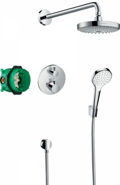 Sistem dus incastrat termostatat Hansgrohe Ecostat S cu 2 consumatori
